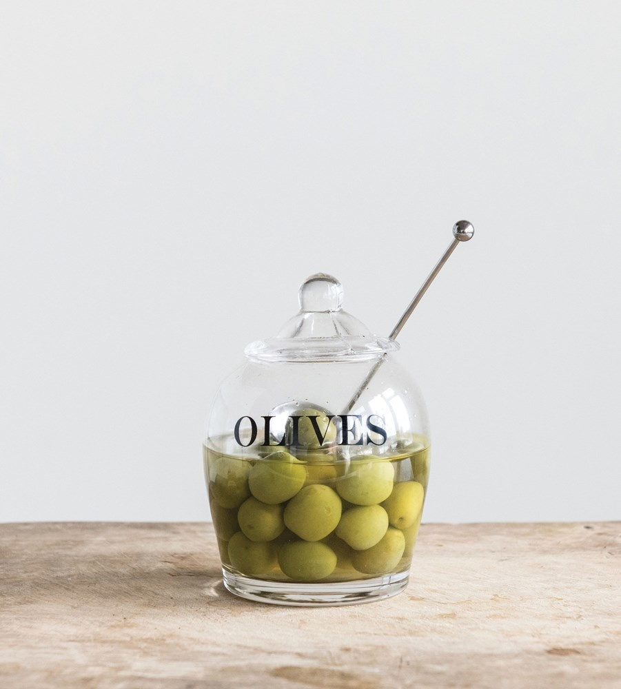 """4"""" Round Olives Jar with Steel Spoon"""