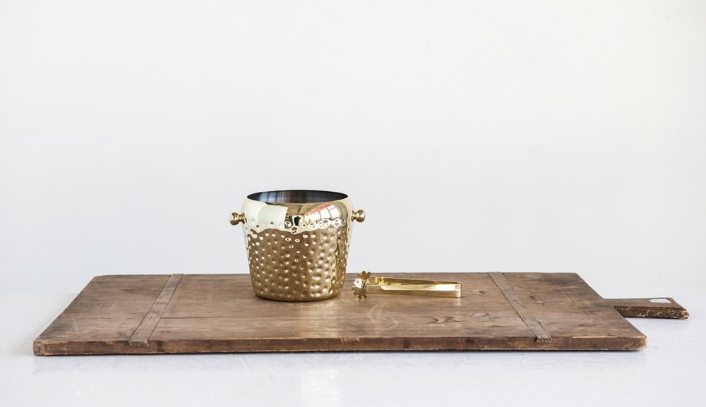 Hammered Mini Ice Bucket with Tongs GOLD
