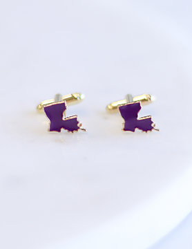 Louisiana Cufflinks PURPLE/GOLD