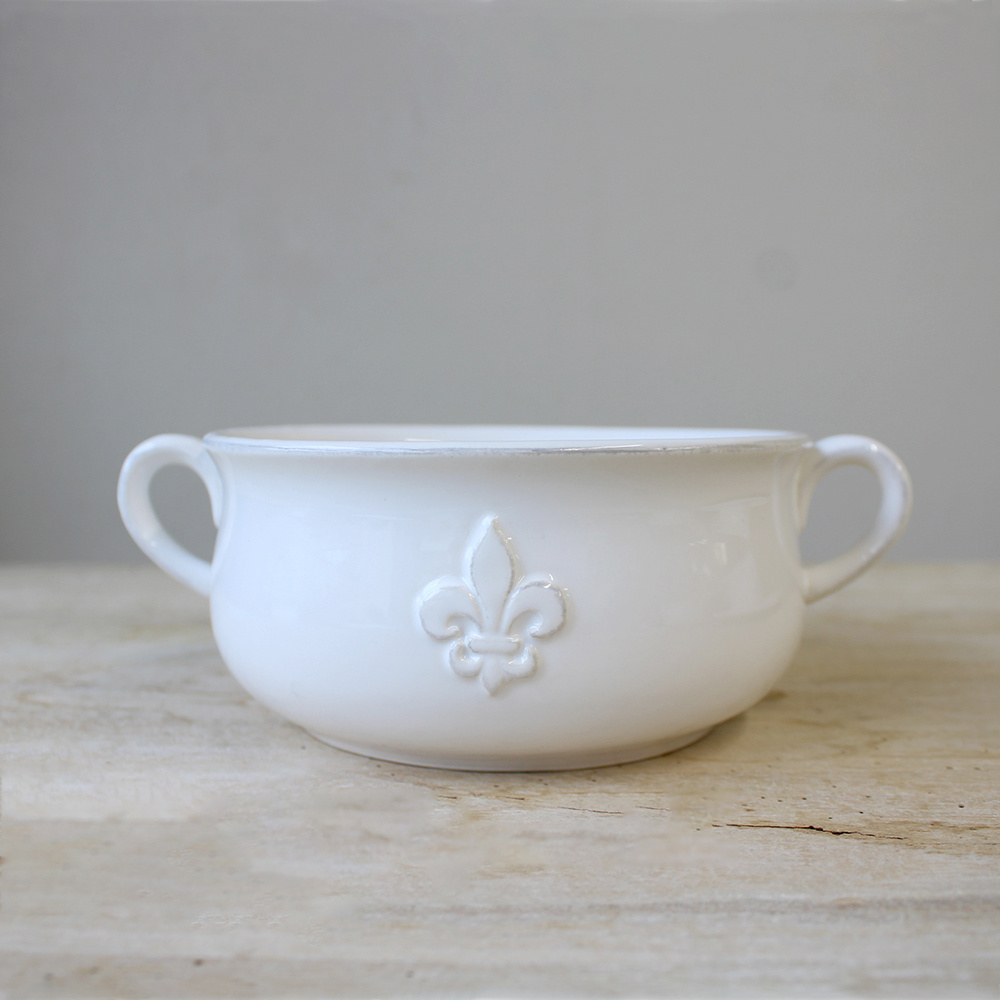 Louisiana Double Handle Bowl WHT