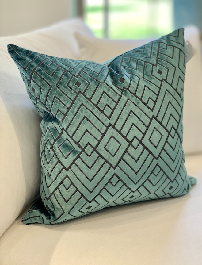 Graphic Square Teal Pillow Down