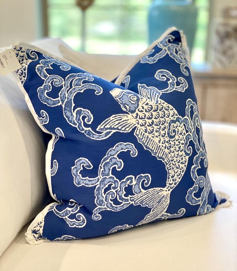 """22"""" Blue Koi Pillow"""
