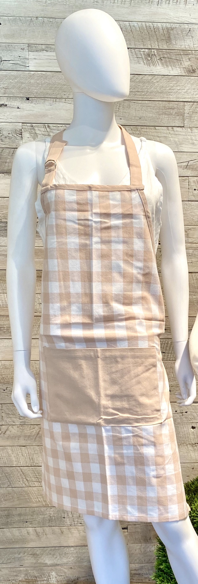 Adult Gingham Apron Pink/Wht