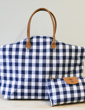Navy/White Overnight Bag