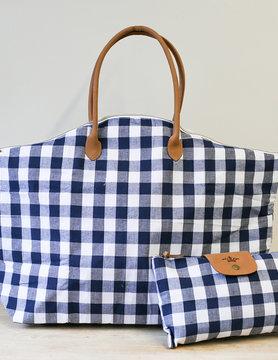 Navy/White Overnight Bag