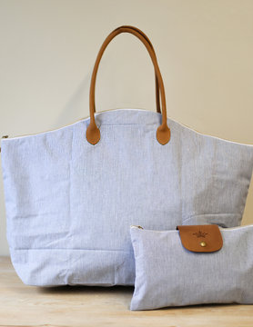 Blue/White Overnight Bag