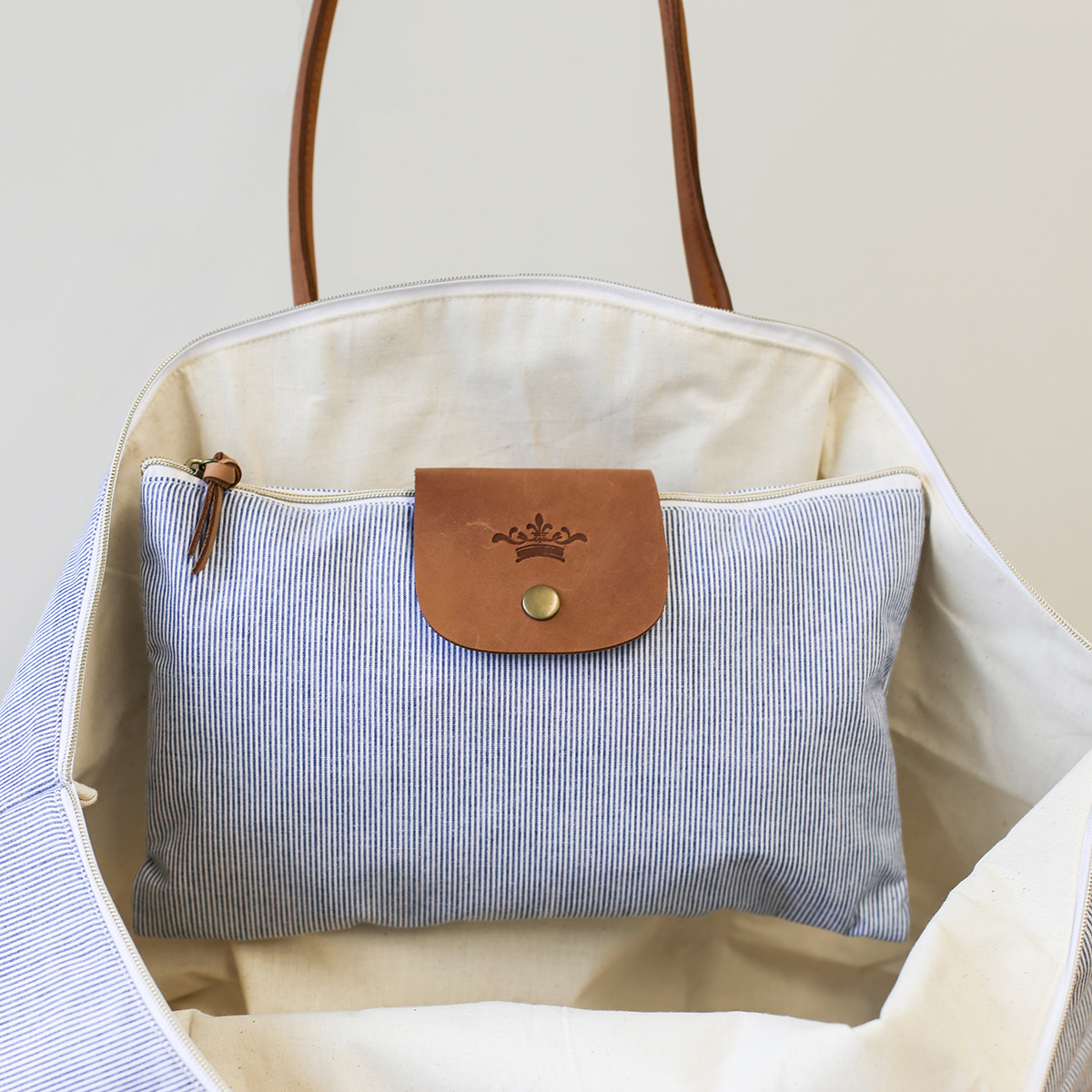 Blue/White Overnight Bag