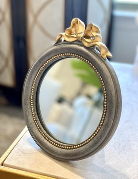 Grey Mirror w/ Gold Bow Round