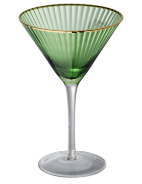 Green Martini Glass w/ Gold Rim