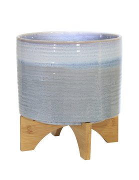 "Blue Fade Ceramic Planter 11"" on Stand"