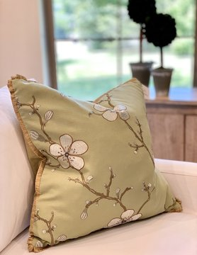 "22"" Green Blossom Pillow"