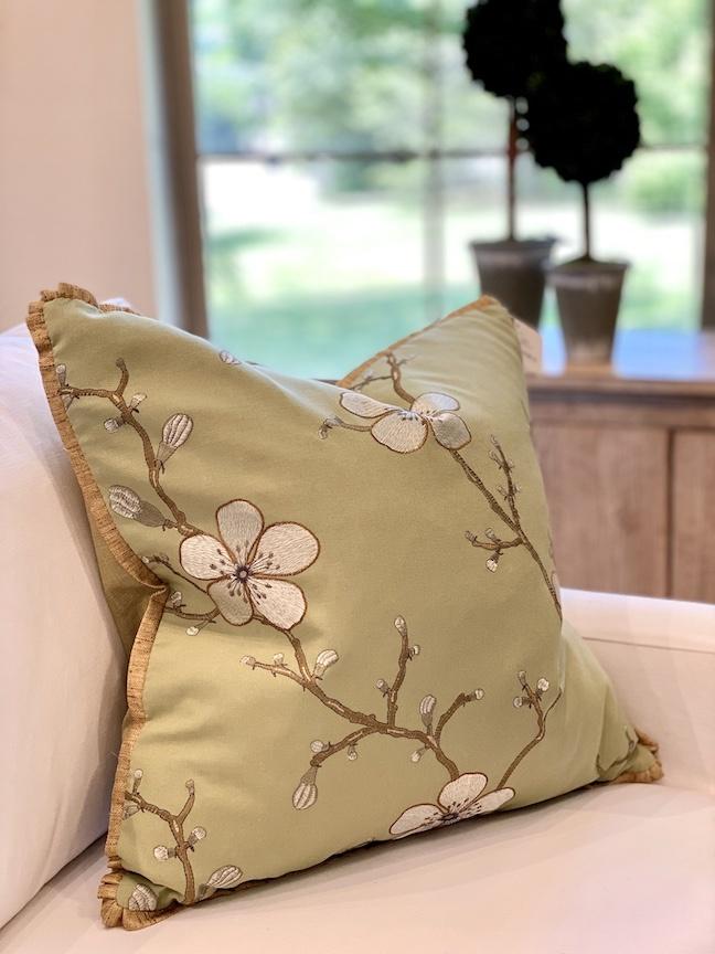 """22"""" Green Blossom Pillow"""
