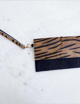 Tiger Print Leather Wristlet