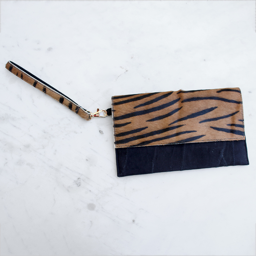 Tiger Print Leather Wristlet