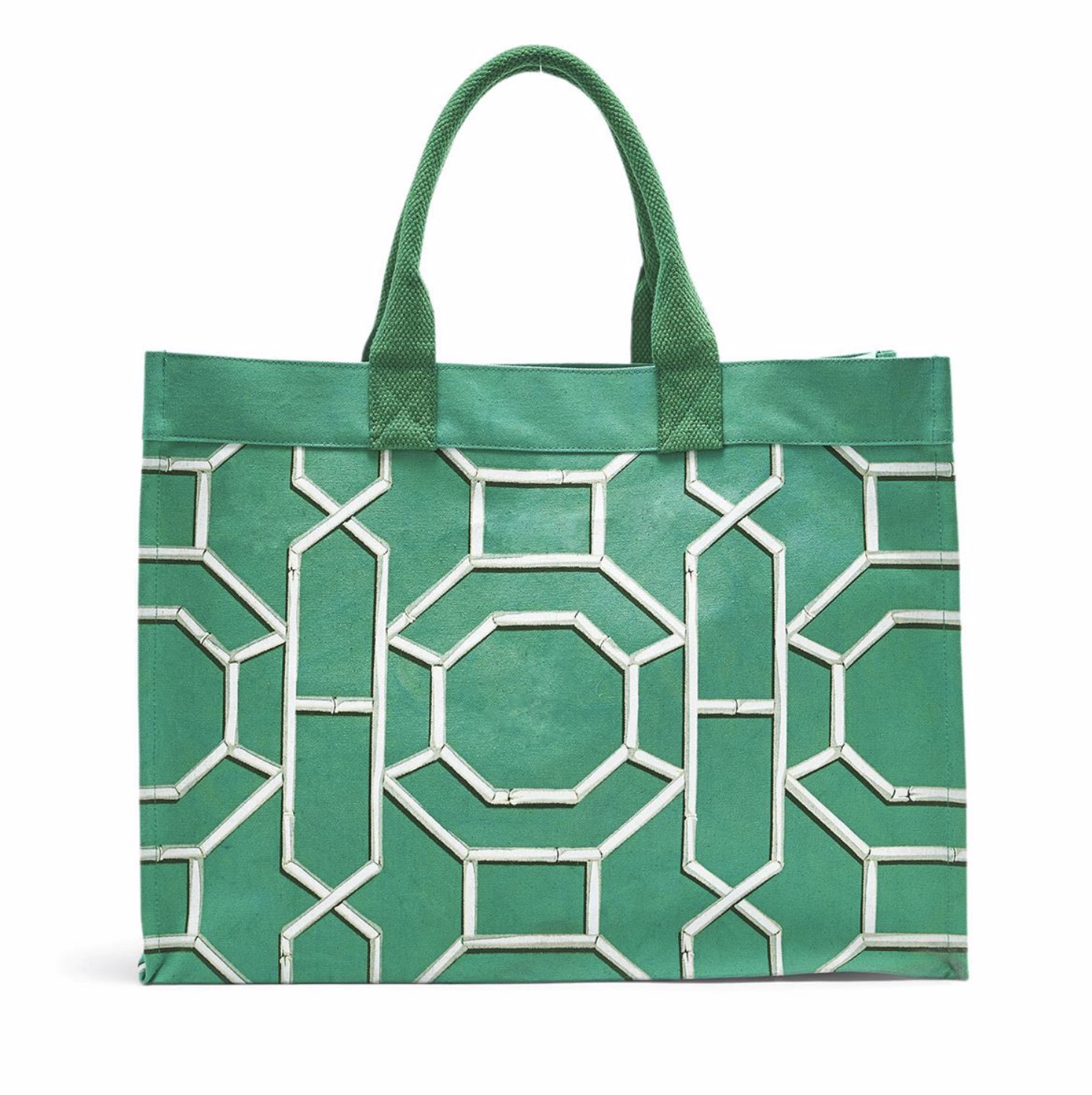 Chinoiserie Canvas Tote GREEN