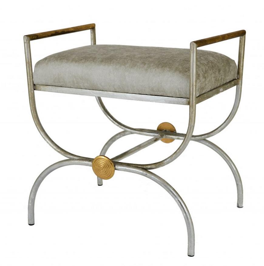 Mavis Bench - Silver Fabric