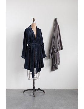 Velour Bathrobe, Blue