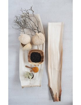 "Palm Leaf & Coconut Husk Tray 26"" x 9.5"" x 4.5"""