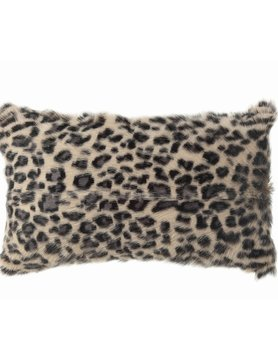 "Leopard Print Fur Pillow 12""x20"""