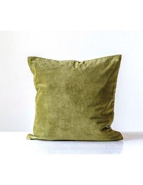 """20"""" Cotton Velvet Pillow GREEN"""
