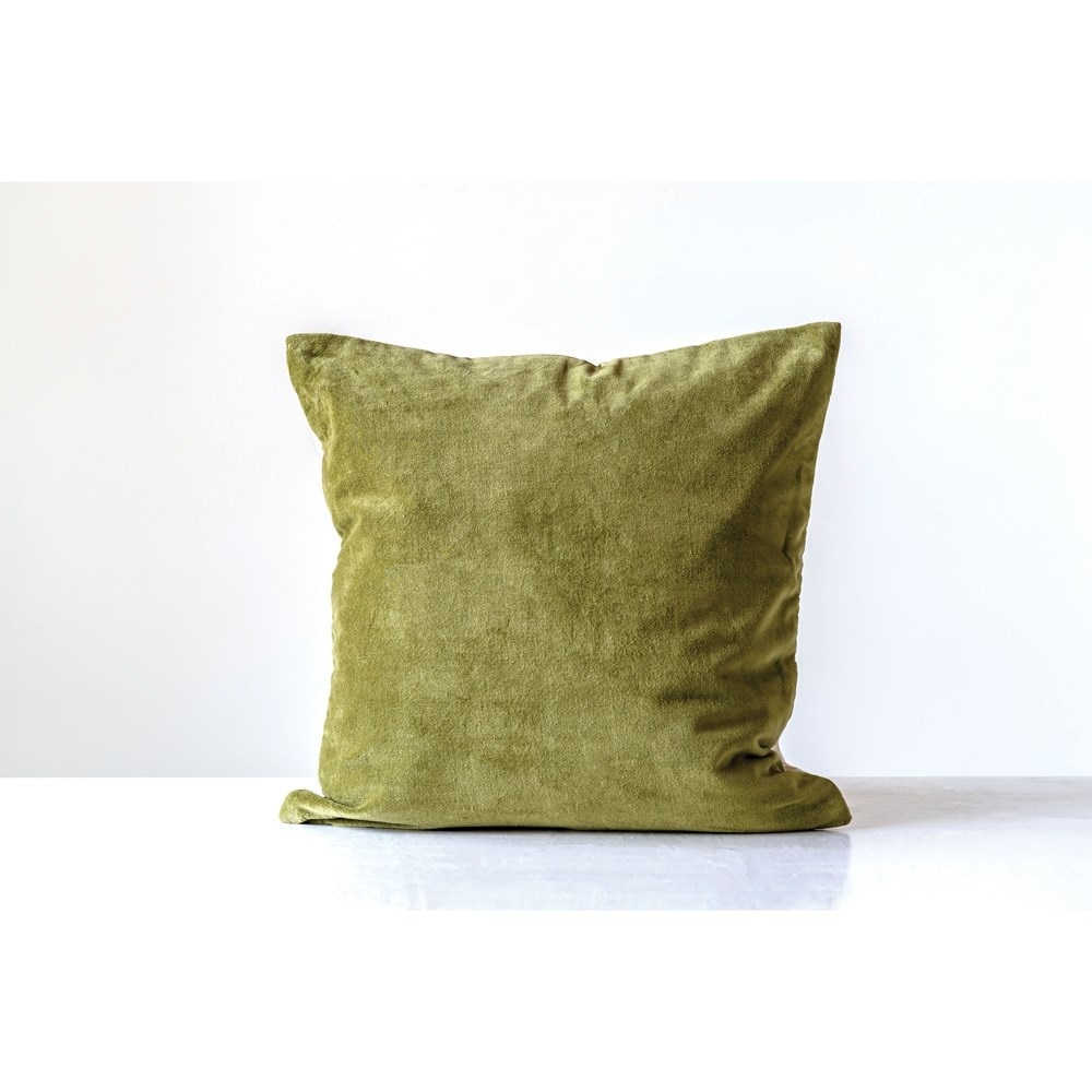 "20"" Cotton Velvet Pillow GREEN"
