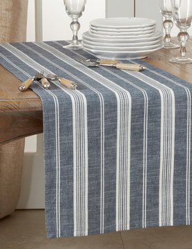 "16"" x 72"" Navy Blue Striped Runner"