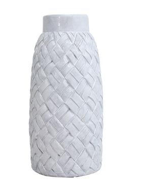 "White Woven Terra Cotta Vase 8""x18"""