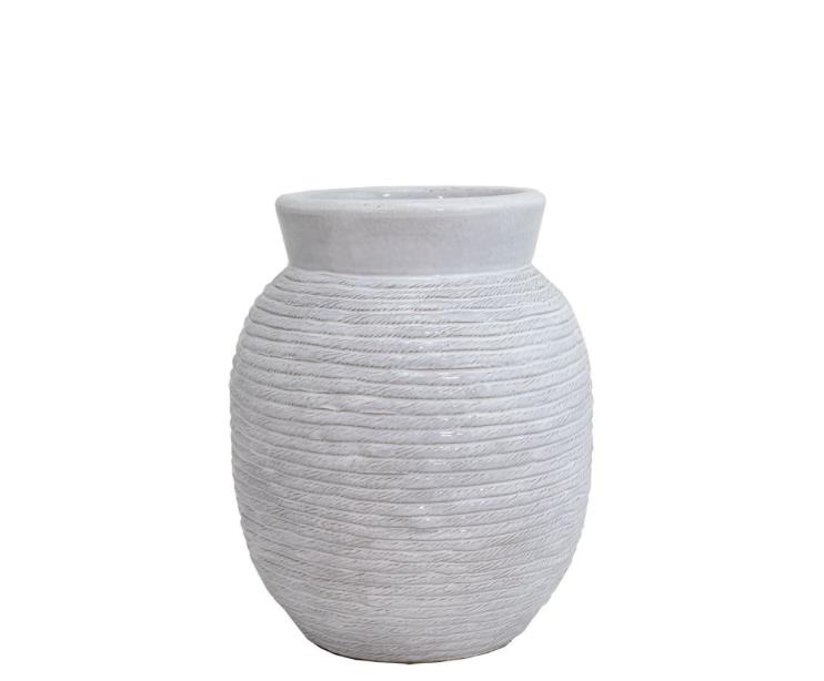 "White Rope Vase 9""x11"""