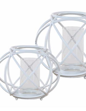 Large White Sphere Candleholder