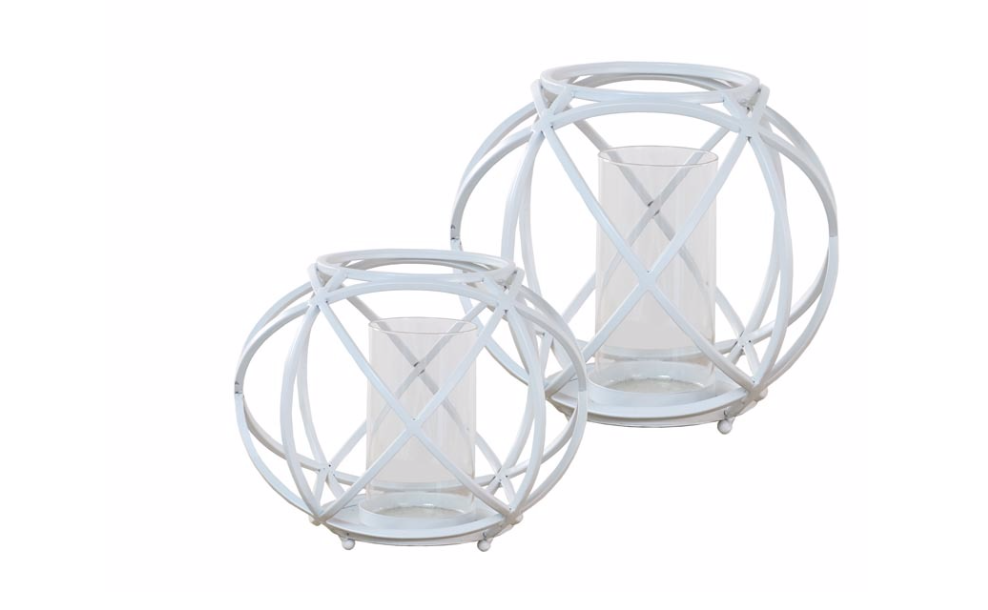 Large White Sphere Candleholder