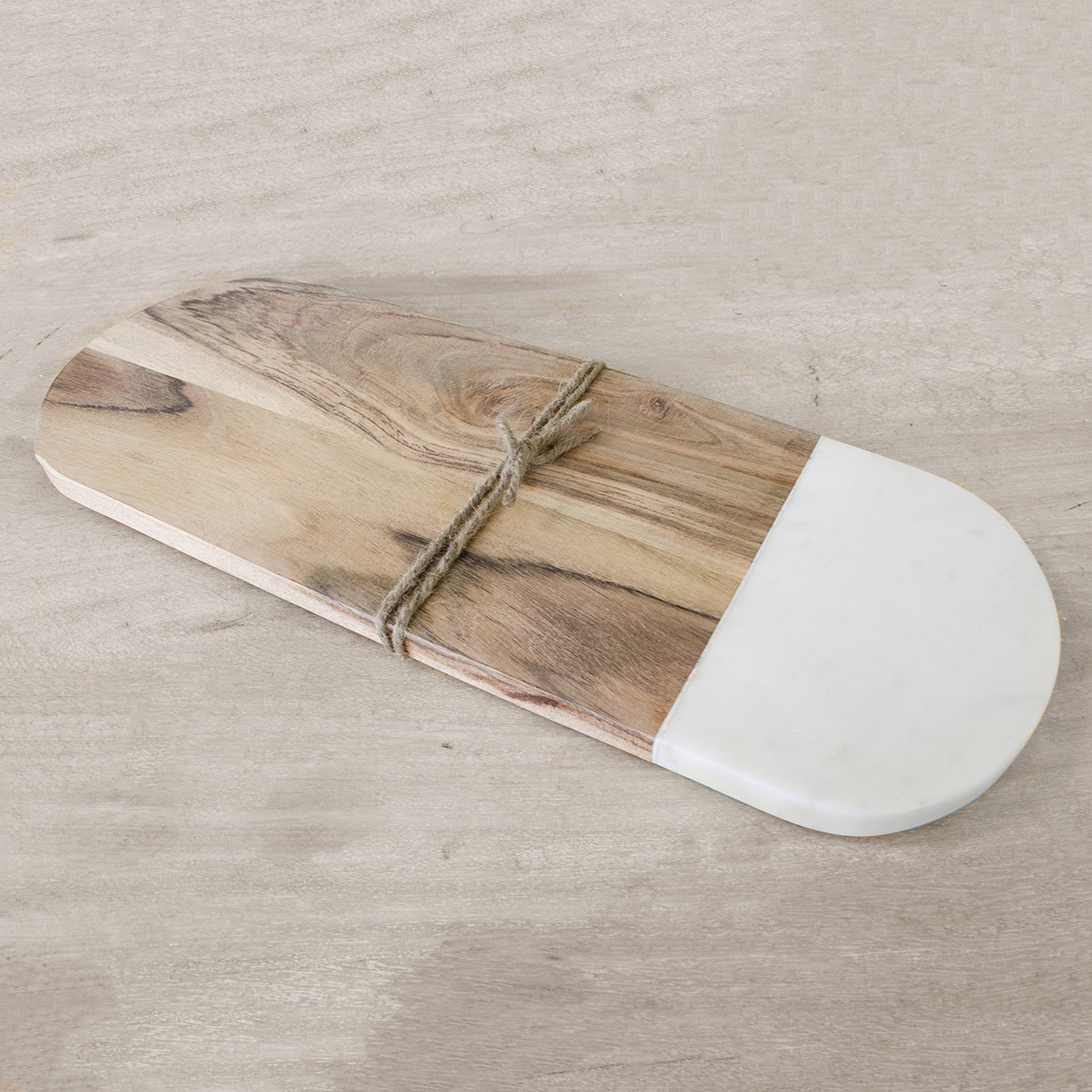 Wood & White Marble Serving Board