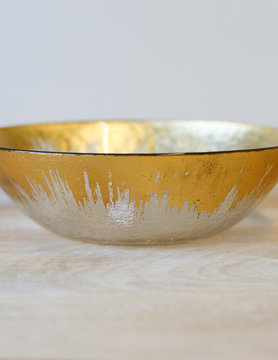 Brushed Gold Rimmed Serving Bowl
