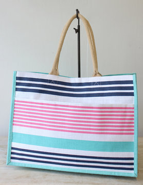 Paradise Stripe Jute Pocket Tote