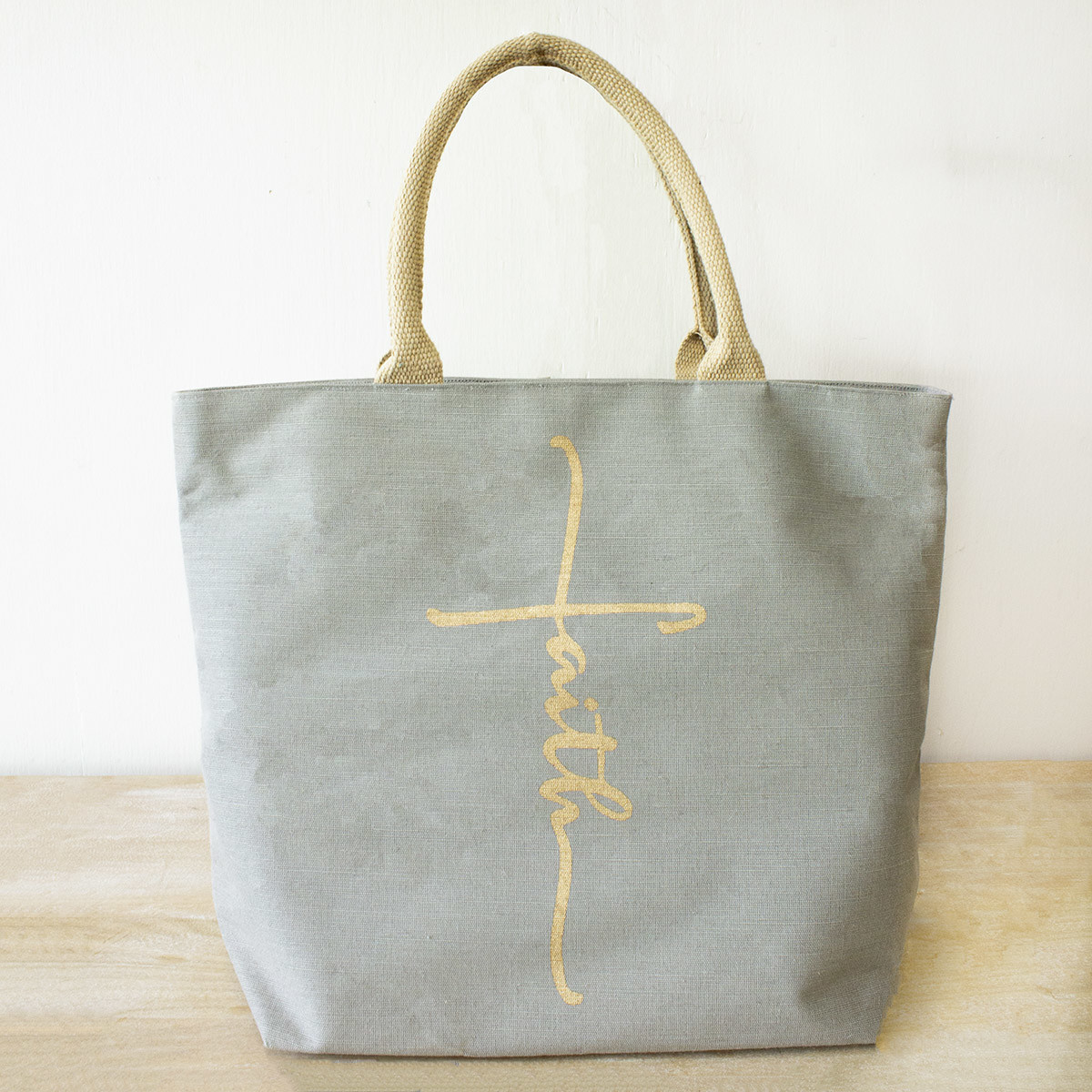 Essential Faith Tote Gray/Gold