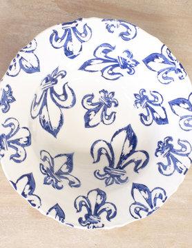 Fleur de Lis Bowl White/Blue