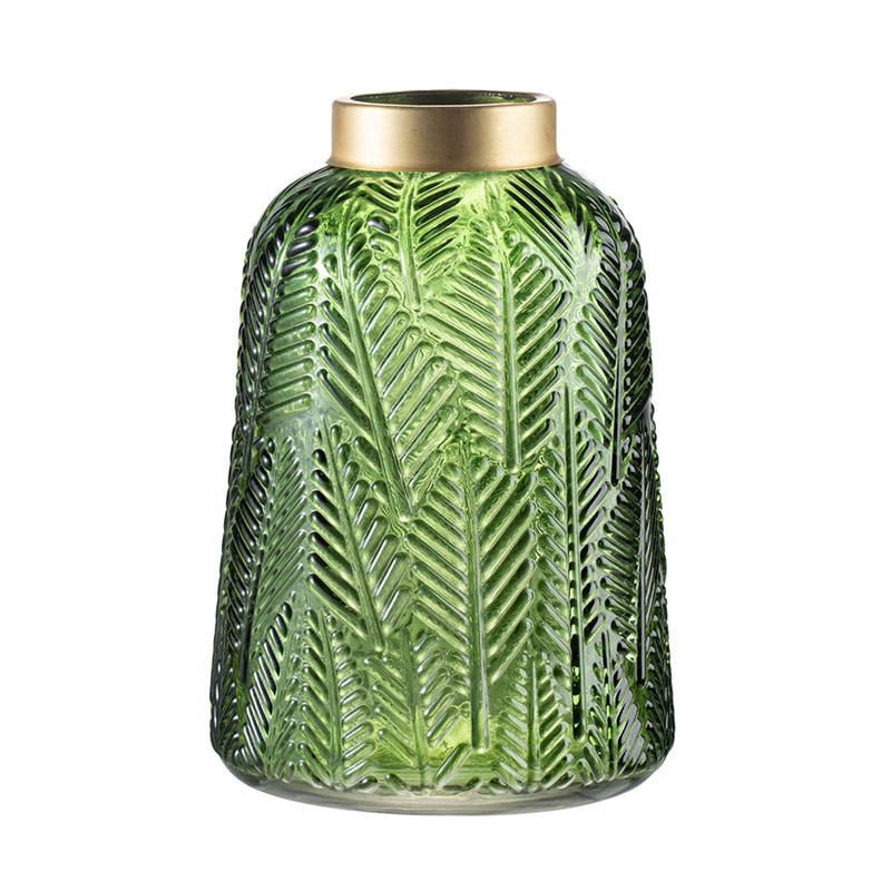 """Leaf Print GREEN Hurrican/Vase 8"""""""