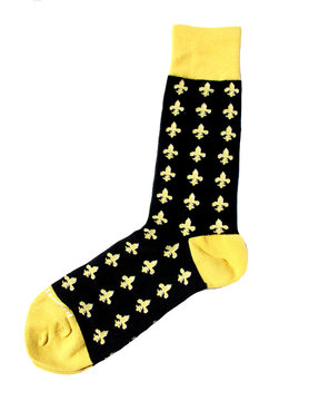 Men's Fleur De Lis Socks Black/Gold