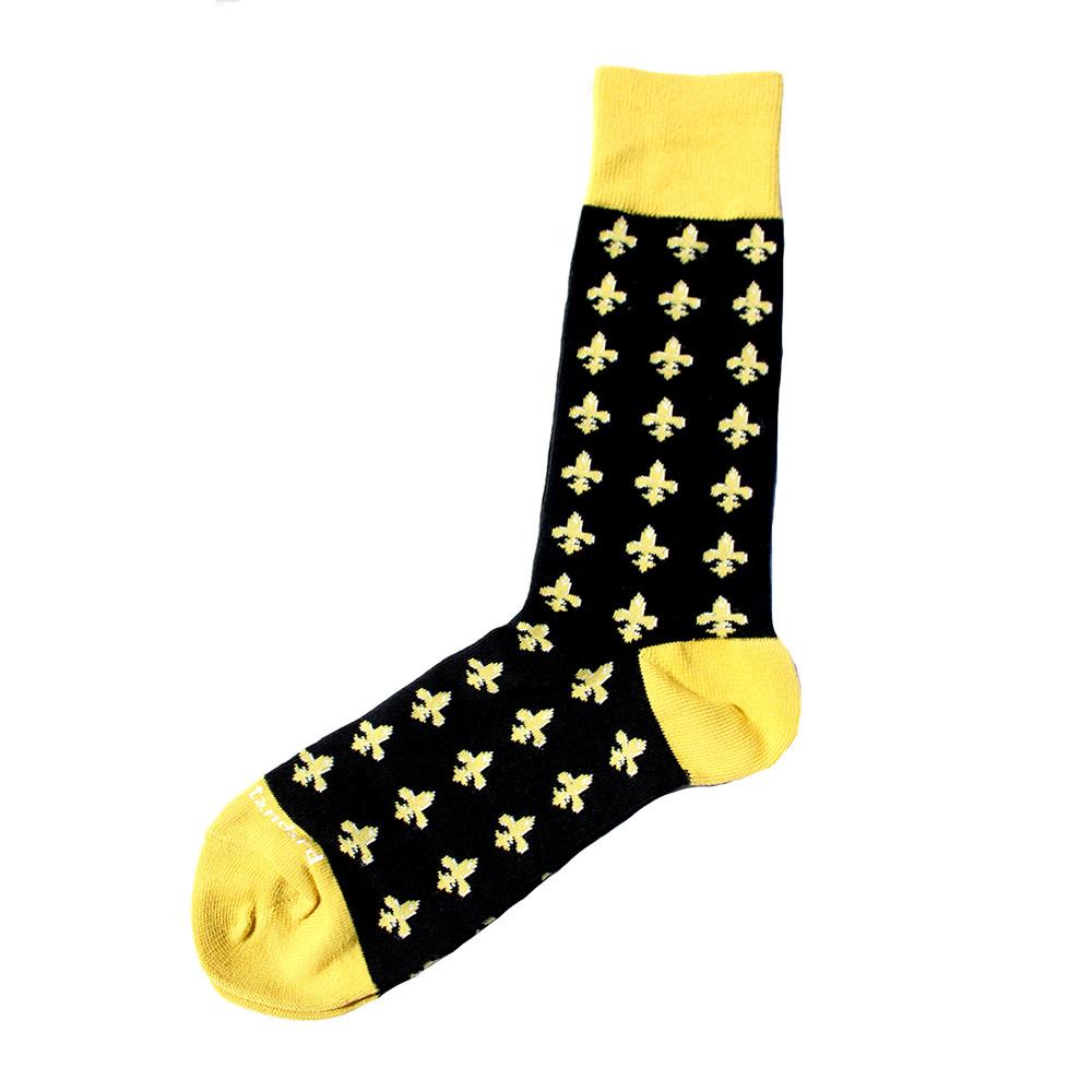 Men's Fleur De Lis Socks Black/Gold