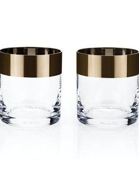 Bronze Rim Crystal Tumbler Set
