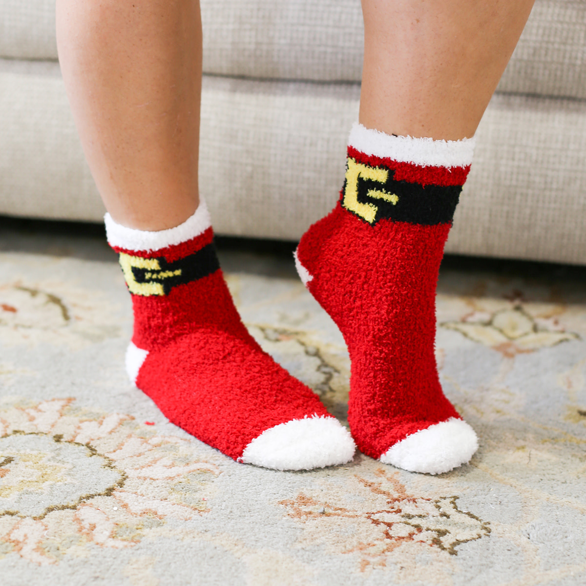 Santa Belt Cozy Socks