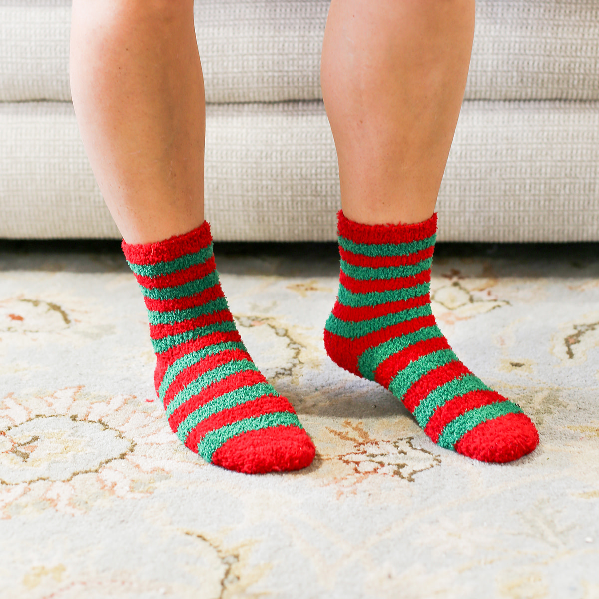 Holiday Stripe Cozy Socks Red/Green