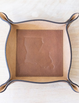 Louisiana Leather Embossed Valet Tray