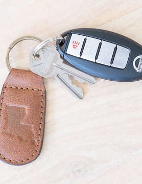 Louisiana Engraved Leather Keychain