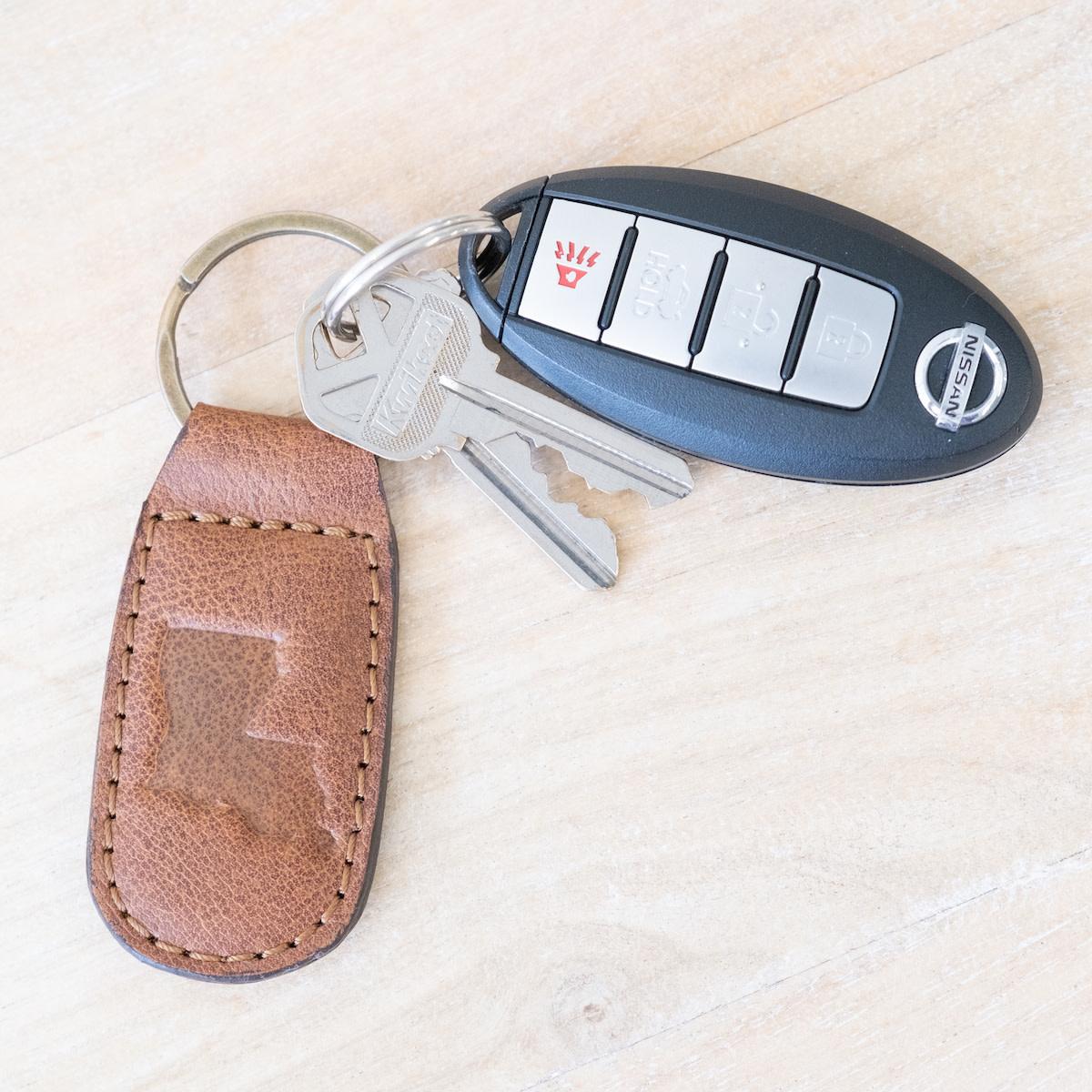 Louisiana Engraved Leather Keychain