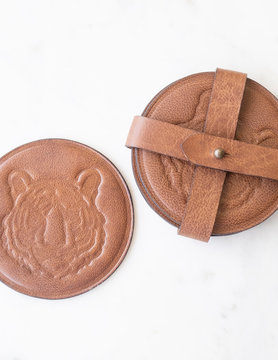 Tiger Engraved Leather Coasters S/4