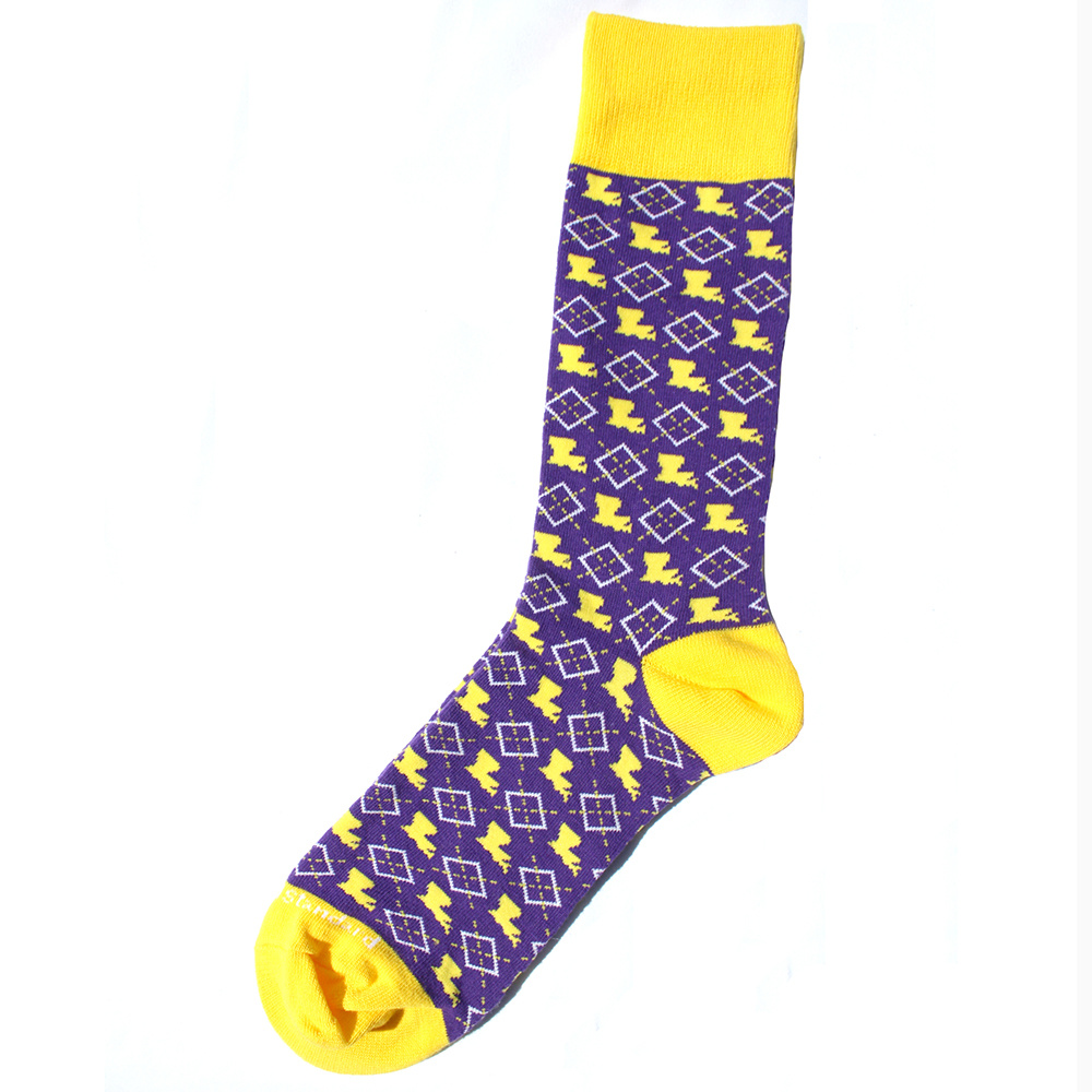 Men's Louisiana Pride Socks Purple/Yellow/White