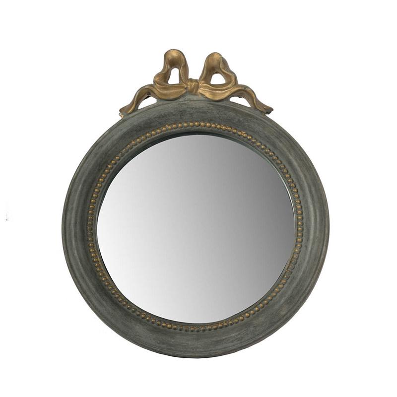 Grey Mirror w/ Gold Bow Round