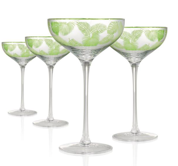 Tropical Leaves Coupe Glass