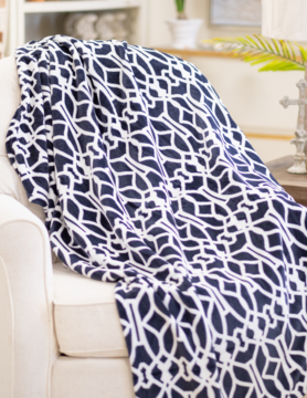 Palace Trellis Throw 50x60 - Navy