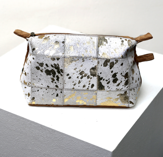 Speckled Metallic Hide Cosmetic Bag White/Gold